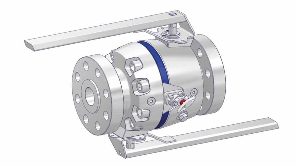 DBB - Picture of a DBB valve with 3 piece design - body, 3D model drawing.